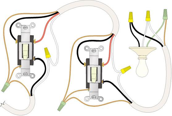 elec2 handymanwire wiring a 3 way or 4 way switch lighting 2 way switching wiring diagram at gsmx.co